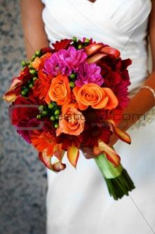 Bride Holding Colorful Large Bouquet