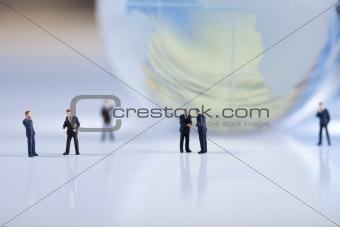 Business people on economic chart