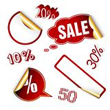 Red sale tags.