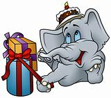 Elephant and Gifts - Happy Birthday