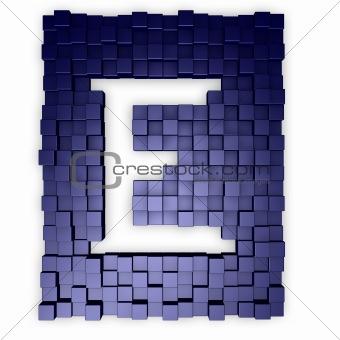 cubes makes the letter e