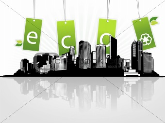 City with eco tags. Vector art
