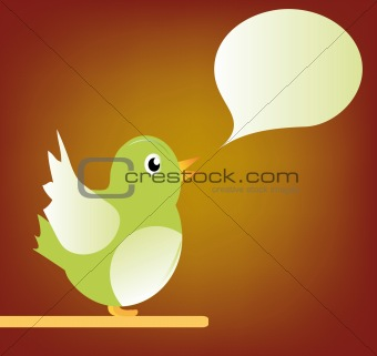 green bird with bubble