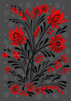 Abstract floral ornament in red and black colors