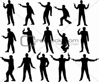 man with a gun silhouettes