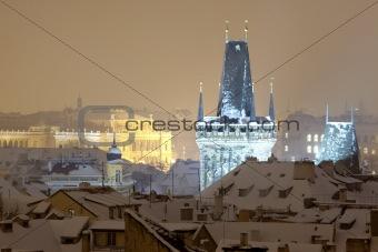 charles bridge tower, rudolfinum concert hall and rooftops of mala strana