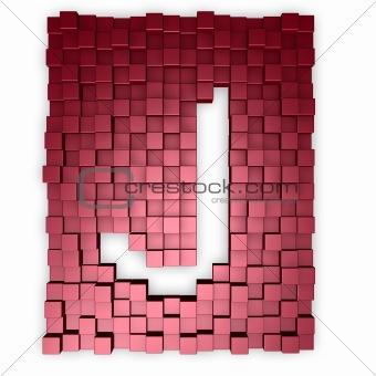 cubes makes the letter j