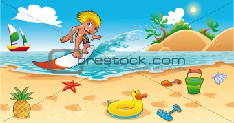 Surfing in the sea.