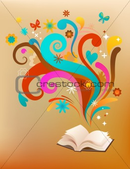 concept background with a book and design elements