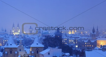prague - panorama of spires of the old town in winter