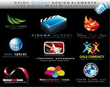 Design Element Collection with colorful Shiny Icons - Set 7