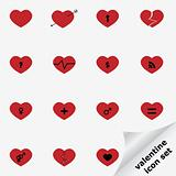 Valentine icon set with hearts