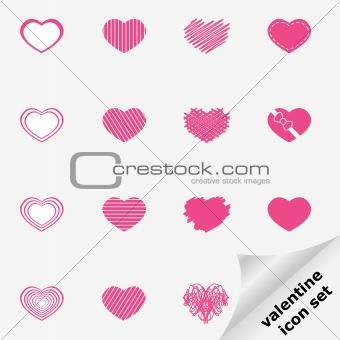 Valentine icon set with heart