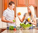 Young Couple Making Salad