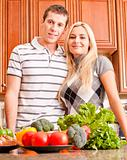 Young Couple Posing in Kitchen