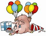 Pig with Balloons