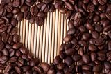 Coffee grains in the form of heart