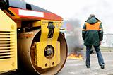 fire extinguishing by asphalt road roller compactor