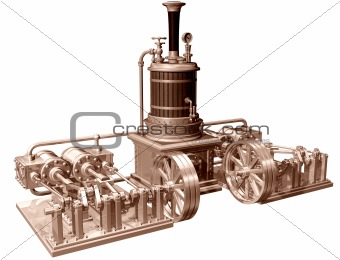 Four cylinder steam engine and boiler