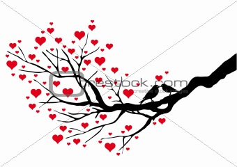birds kissing on a heart tree