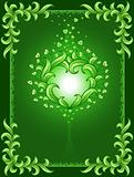 green background with floral frame and heart