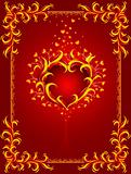 red background with burning heart and frame