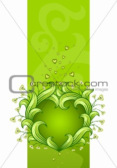 green floral heart made of leafs