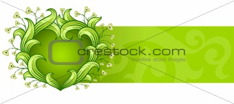 green background with floral heart