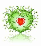 red heart in green leaf