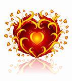 love heart burning in blaze