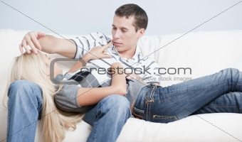 Affectionate Couple Relaxing Together on Couch