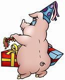 Pig with Gifts - Happy Birthday
