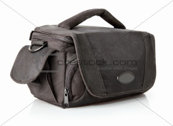 black stylish bag with pocket isolated on white
