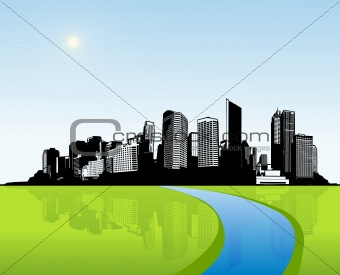City with green grass. Vector art