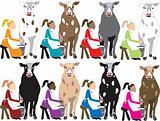 8 Ladies Milking