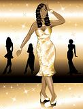 Formal Golden Gown Woman