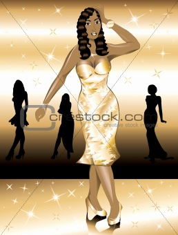Formal Golden Gown Woman