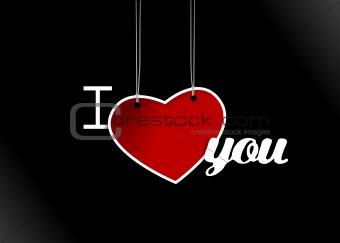 Valentine hanging heart. Vector art