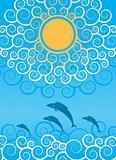 ornamental sun and waves