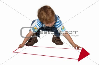 business template with boy and row