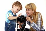 Children learn photography in the studio