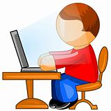 Man working on computer. Web icon.