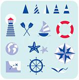 Blue nautical and sailor icons