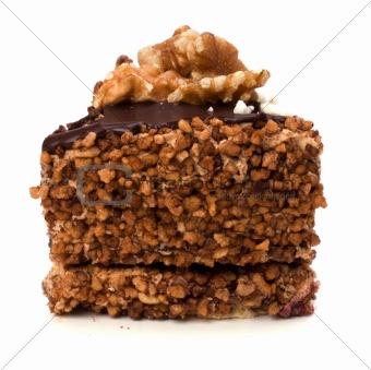 Slice of chocolate cream cake