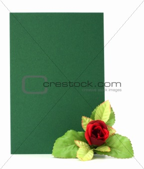 Card with floral decor. Flowers are artificial.