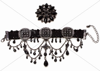 bracelet and brooch isolated on white background