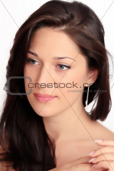 ait of a beautiful caucasian young woman with beautiful blue eye