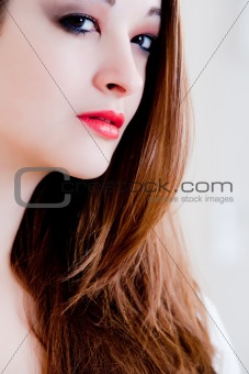 Cosmetic girl with red lips
