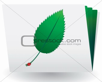 Catalog with green leaf and ladybird on top