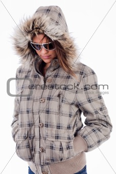 beautiful young women wearing woolen top